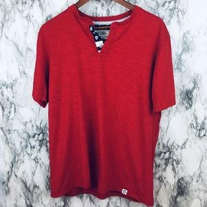 Free Planet | Henley Tee Short Sleeve Red Large